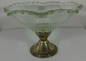 Duchin Sterling Silver Weighted Beaded Scalloped Clear Glass Compote Bowl 5 75