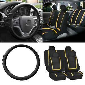 Cloth Auto Car Seat Cover Set Yellow W black Silicone Steering Wheel Cover