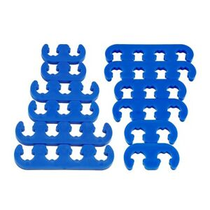2sets 7mm 8mm Blue Spark Plug Wire Separators Dividers Looms 9877 For Sbc Bbc