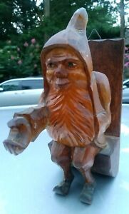 Vintage Carving Wood Plaque Gnome Elf Troll Wall Decor Wooden Holder Rare
