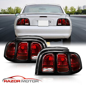 1994 1995 1996 1997 1998 For Ford Mustang Smoke Red Brake Tail Lights Lamps Pair