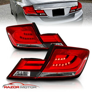 For 2013 2014 2015 Honda Civic 4dr 4 Door Sedan Red Clear Led Tail Lights Pair
