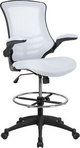 Mid back White Mesh Drafting Chair With Adjustable Foot Ring And Flip up Arms
