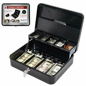 Cash Box With Money Tray Key Lock Tiered Coin Tray With Lid Steel