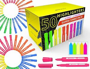 50 Chisel Tip Highlighters Markers Bulk Assorted Colors Tank And Pen Type