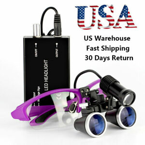 3 5x Binocular Dental Loupes With 5w Led Head Light Medical Surgical Glasses