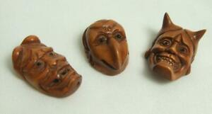 Lot Of 3 Japanese Wooden Signed Hannya Oni Karasu Tengu Mask Netsuke Set Japan