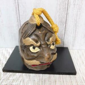 Japanese Clay Tengu Bell Amulet Rare Japan