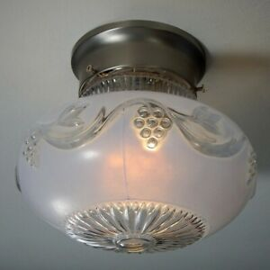 Mid Century Flush Mount Ceiling Light Fixture Vintage Glass Shade New Fixture
