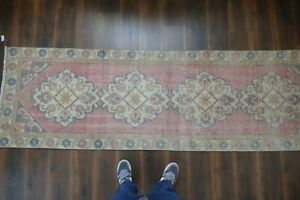 Vintage Turkish Oushak Runner Rug Handwoven Wool Antique Rug Runner 2 8x9 3 Ft