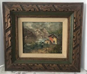 Vintage Mid Century Mexican Carved Wood Gilt Picture Frame Rustic Scene Signed