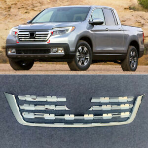 Chrome Abs Front Grille Grill Cover Molding Trim For Honda Ridgeline Rtl 2017 19