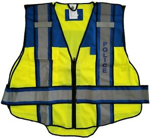Fire Ninja 6 Point Breakaway Traffic Safety Vest Blue Police