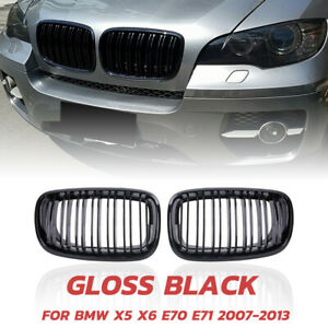 For Bmw X5 X6 E70 E71 2007 2014 Gloss Black Dual Slat Front Kidney Grill Grille