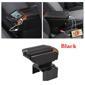 Charging Car Dual Opening Armrest Box Central Console Cup Holder Storage Black