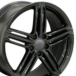 18x8 Rims Fits Audi Rs6 Style Black Wheels Et45 5x112 Set
