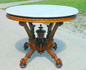 Stunning Walnut Victorian Claw Foot Marble Top Table