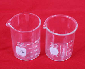 Lot Of 2 Glass Griffin Low Form 50ml Beaker