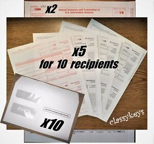 2019 Irs Tax Forms Kit 1099 misc Laser 10 Recipients envelopes 2 1096 tf6103