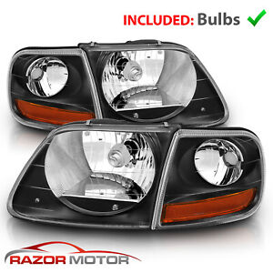 For 97 03 02 Ford F150 Expedition Lightning Style Black Headlight Corner Pair