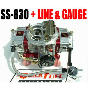 Quick Fuel Ss 830 830 Cfm Gas Mech Carb 6 Line Kit With 15 Psi Gauge All New