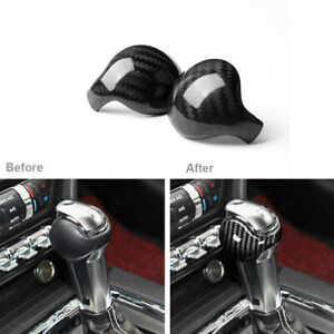 2x Carbon Fiber Interior Gear Shift Knob Trim Cover For Ford Mustang 2015 2019