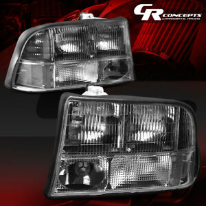 Pair Black Housing Clear Corner Headlight lamp Lh rh For 98 04 Gmc Sonoma jimmy