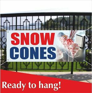 Snow Cones Advertising Vinyl Banner mesh Banner Sign Balls Snowcone Shaved Ice