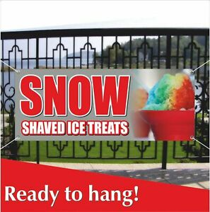 Snow Shaved Ice Treats Advertising Vinyl Banner mesh Banner Sign Balls Snowcone