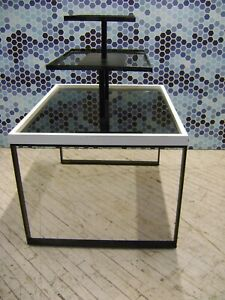 White 3 Tier Display Tinted Acrylic Merchandise Table