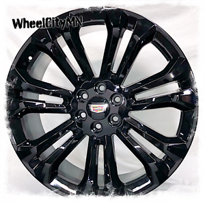 24 Inch Gloss Black 2019 Cadillac Escalade Oe Replica Wheels 6x5 5 New 4 Rims