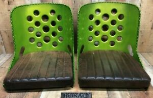Rat Rod Seats Bomber Seats Candy Green Powdercoat W Distressed Brown Pads