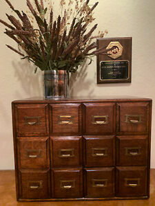Antique 12 Drawer Library Card File Cabinet