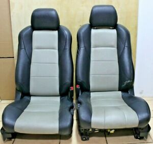 Leather Seats Pair Lh Rh Oem Black Gray 03 08 Nissan 350z Fairlady Z