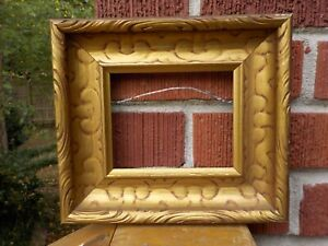Vintage Mid Century Small Miniature Coved Gold Wood Picture Frame 4 X 5 In Fit