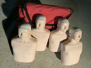 lot Of 4 Laerdal Little Anne Cpr Adult Manikin W Carrying Case