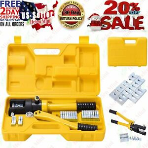 16 Ton Hydraulic Wire Battery Cable Lug Terminal Crimper Crimping Tool W Case