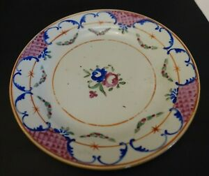 Sh20b Antique Chinese Export Floral Hand Painted Plate 9
