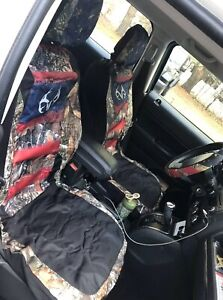 American Flag Real Tree Front Seat Covers And Wheel Cover