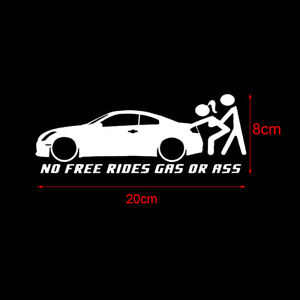 Universal No Free Rides Gas Or Ass Auto Car Sticker Window Decal Car Accessories