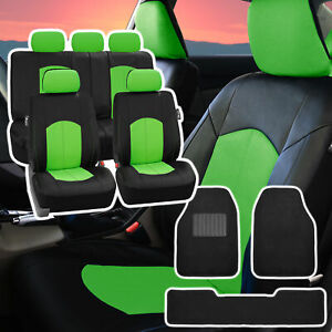 Pu Leather Car Seat Covers For Auto Green Black 5 Headrests Black Floor Mat