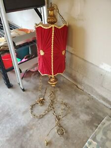 Vintage Hollywood Regency Red Velvet With Gold Accent Swag Lamp Rare Cool Find