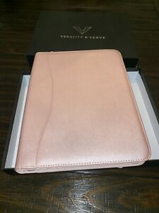 Professional Leather Padfolios Business Portfolio Doc Organizer Metallic Pink