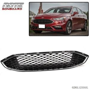 For Ford Fusion 2017 Gloss Black W Chrome Front Bumper Honeycomb Mesh Grill