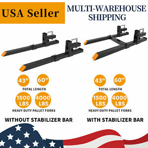 1500lb 4000lb Bucket Pallet Forks Tractor Clamp On 43 60 Skid Steer Steel
