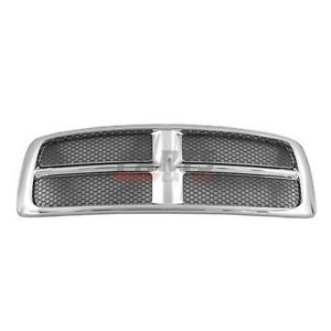 New Front Grille Chrome Frame Fits 2002 2005 Dodge Ram 1500 Ch1200268 55077185ad