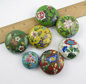 A Mixed Group Of 7 Vintage Chinese Cloisonne Enamel Focal Beads