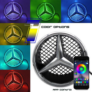 Colorful Car Led Grille Logo Front Emblem Light For Mercedes Benz Phone Control