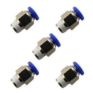 5pcs 1 4 Od Tube X 1 8 Npt Pneumatic Fitting Push To Connect Air Fitting