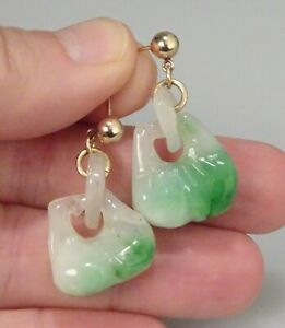 Chinese Green White Carved Jade Earrings 2 Peaches 57417